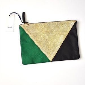CLARE V. Tri Color Leather Clutch